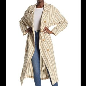 Free People Striped Trench Coat